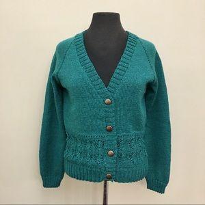 Handmade Knit V-Neck Button Up Cardigan Sweater